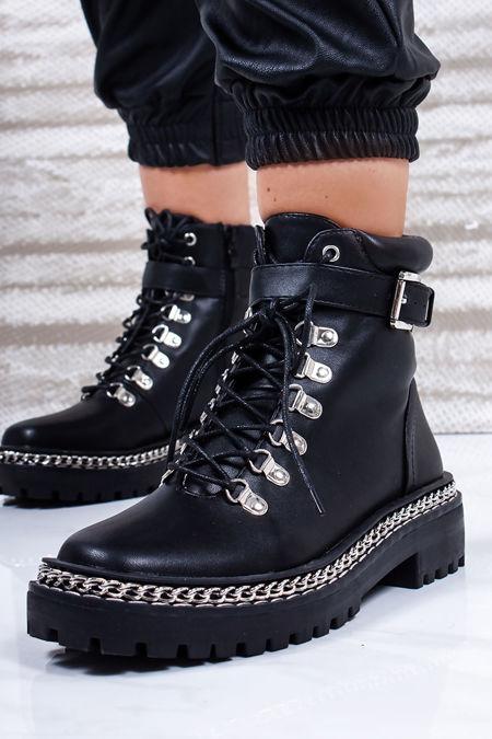 LEXI Black Chain Hiker Boots