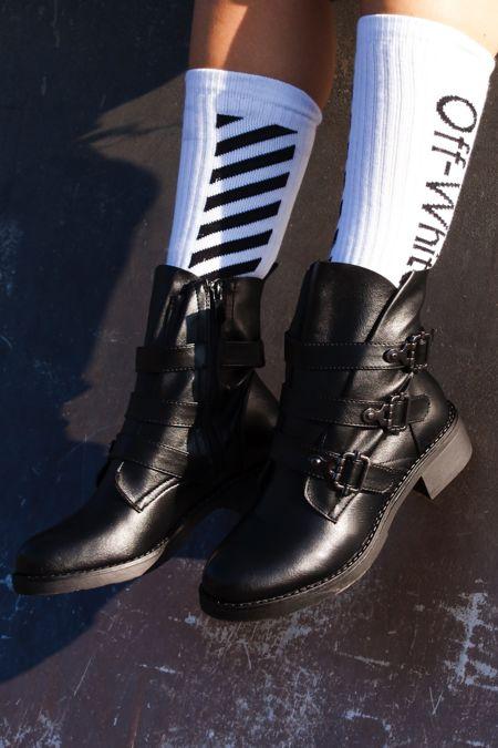 FINLEY Black Multi Buckle Strap Boots