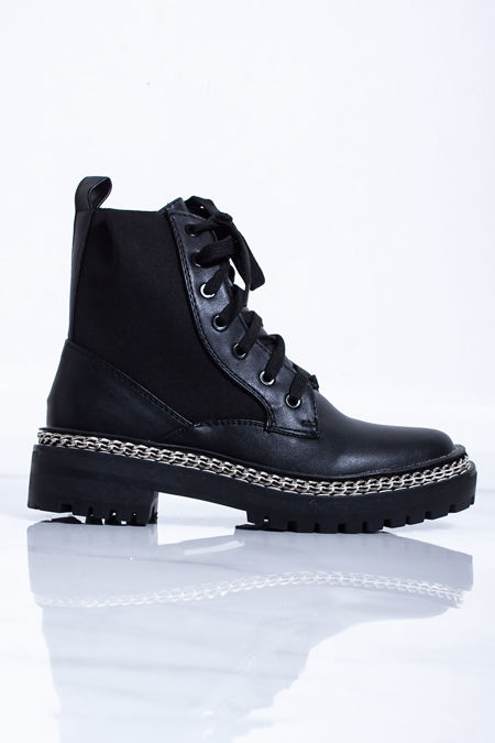 HELENA Black Chain Lace Up Ankle Boots