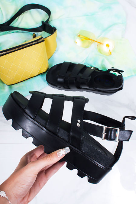 CARA Black Faux Leather Chunky Sole Sandals