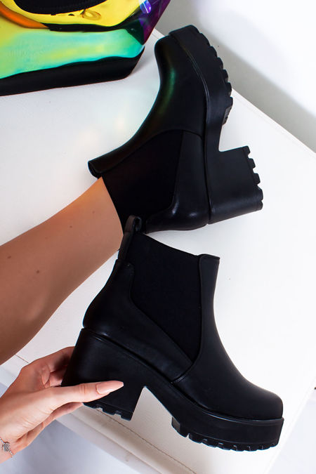 LEONIE Black Faux Leather Chunky Sole Chelsea Boots