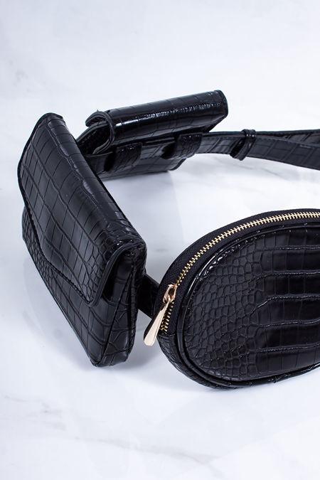 CHARLIE Black Triple Pocket Croc Print Utility Belt Bag