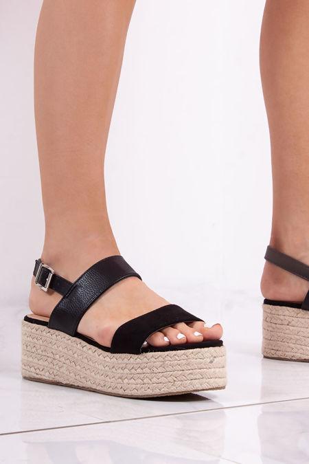 GRACIE Black Double Strap Detail Espadrille Flatform Sandals