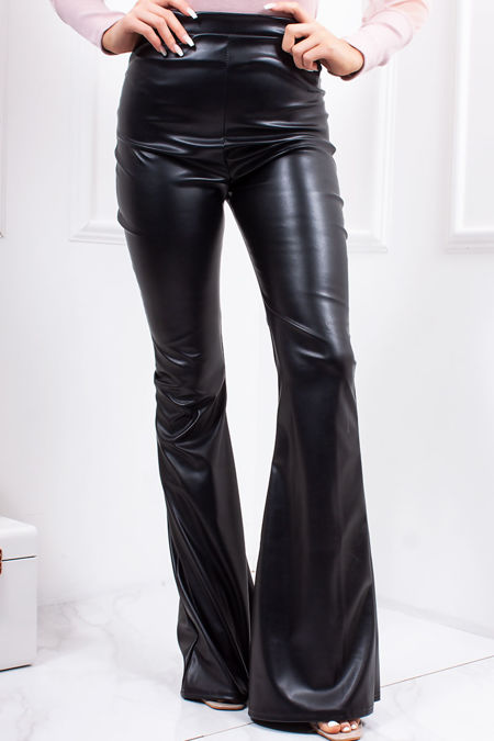 SADIE Black Faux Leather High Waisted Extreme Flared Trousers