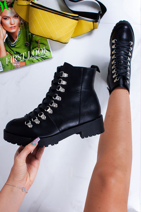 LANA Black Faux Leather Chunky Lace Up Biker Boots
