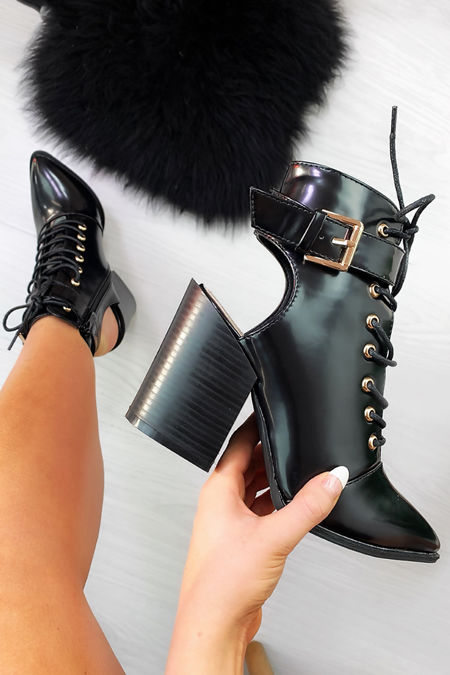 LEONA Black Open Back Block Heel Ankle Boots