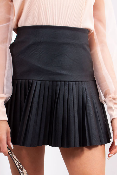 ISLA Black Faux Leather Pleated Skirt