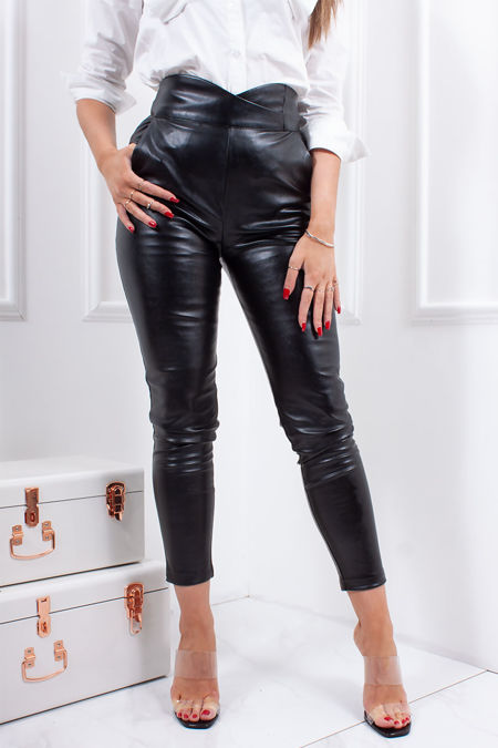 Black Faux Leather High Waisted Wrap Trousers