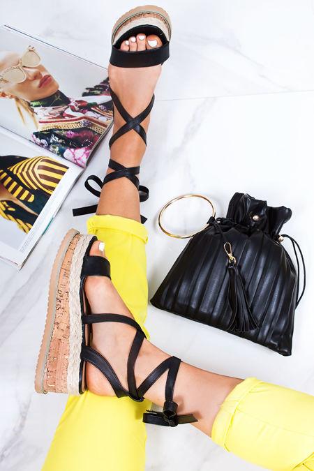 INDIGO Black Faux Leather Wrap Up Espadrille Flatforms