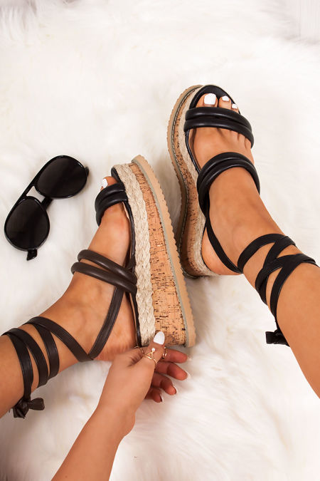 HARLOW Black Faux Leather Wrap Up Flatform Espadrille Sandals