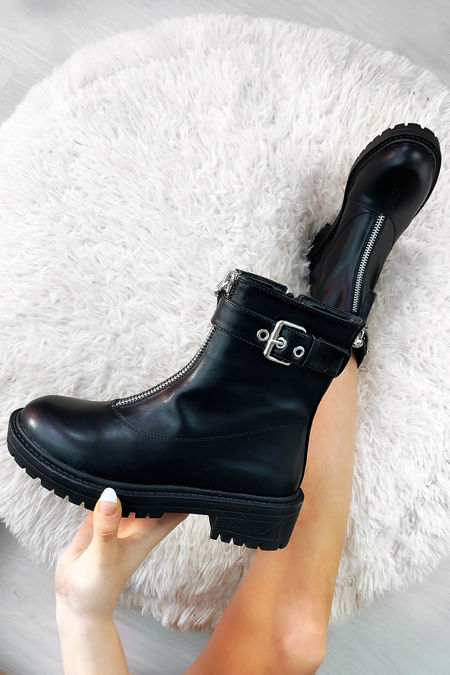 ADALYN Black Zip Front Faux Leather Chunky Ankle Boots