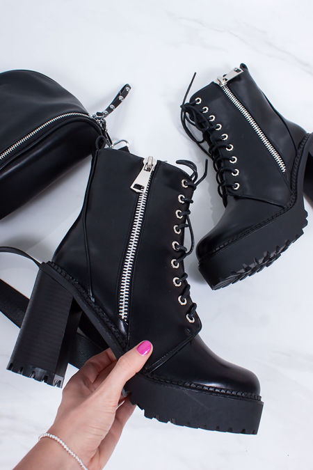 AMY Black Zip Biker Boots