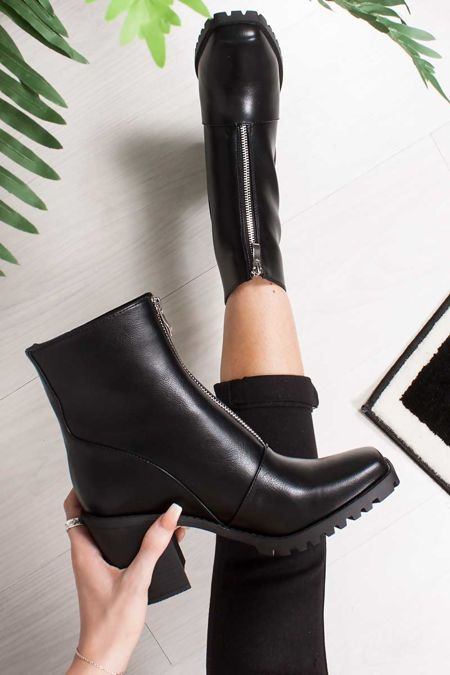 SADIE Black Zip Front Block Heel Ankle Boots