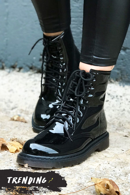 OLIVIA Black Faux Patent Leather Ankle Boot