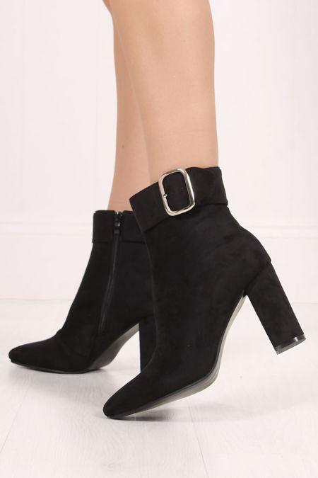 BREA Faux Suede Silver Buckle Block Heel Boots