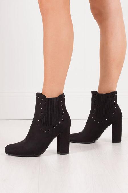 NADIA Black Faux Suede Stud Block Heel Boots