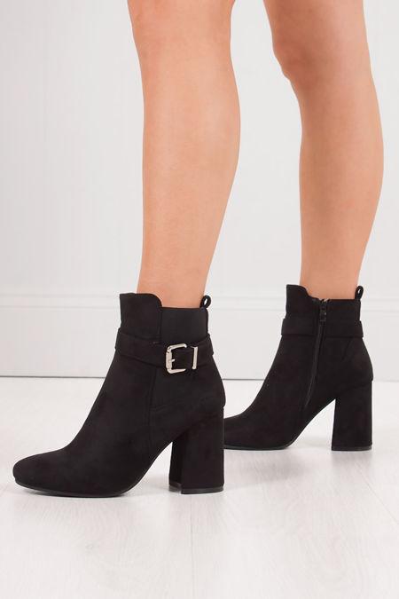 ZARA Black Faux Suede Buckle Strap Block Heel Ankle Boots
