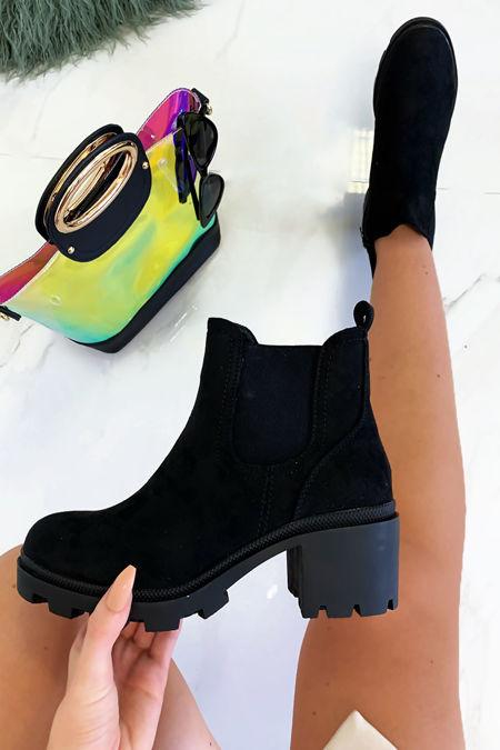 KRISTEN Black Faux Suede Chelsea Boots