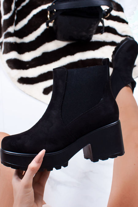 LEONIE Black Faux Suede Chunky Sole Chelsea Boots