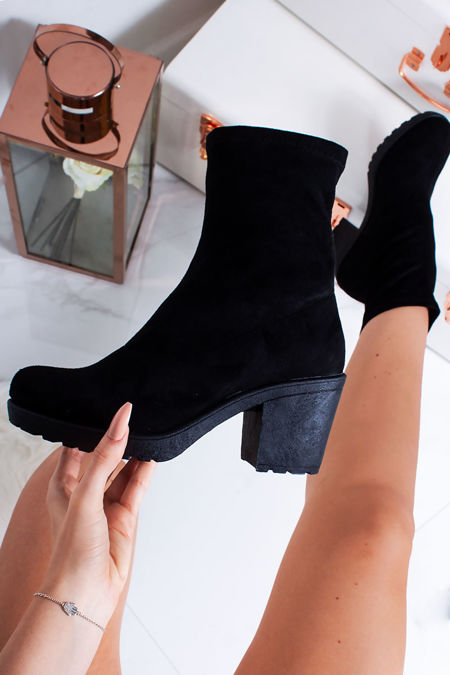 CELINA Black Faux Suede Chunky Sole Sock Boots