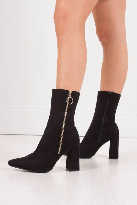 RITA Black Faux Suede Gold Zip Block Heel Boots