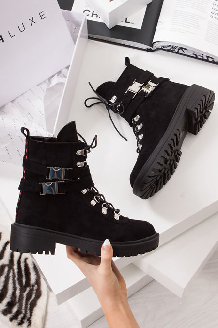 LOIS Black Faux Suede Buckle Strap Ankle Boots