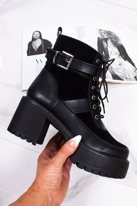 EBONY Black Buckle Strap Chunky Ankle Boots