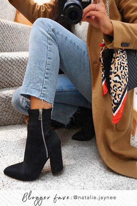 BAYLEE Black Silver Zip Block Heel Boots