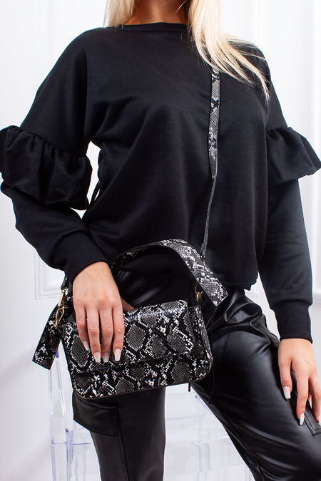 SKY Black Frill Sleeve Oversized Jumper