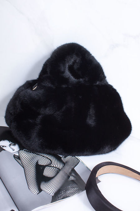 ARYA Black Faux Fur Handbag