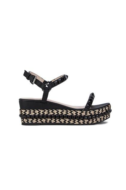 LEXI Black Stud Flatform Sandals With Gold Detail