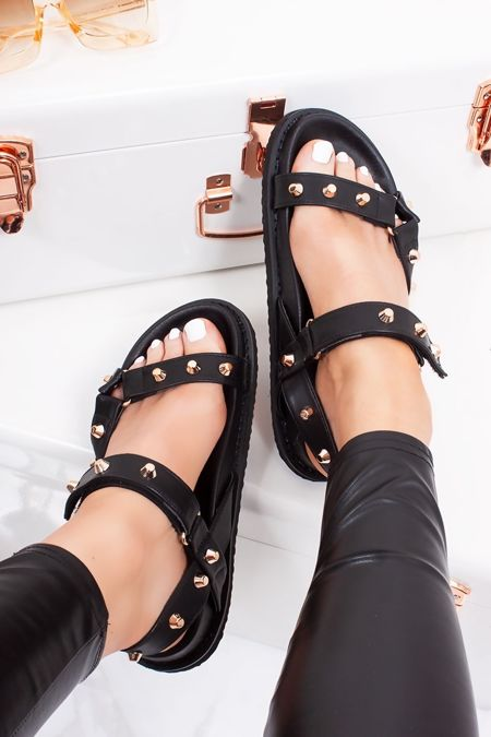 ALISA Black Multi Strap Stud Detail Chunky Sole Sandals