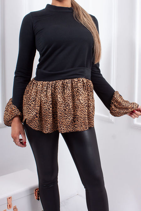 MOLLY Black Leopard Print Frill Trim Jumper