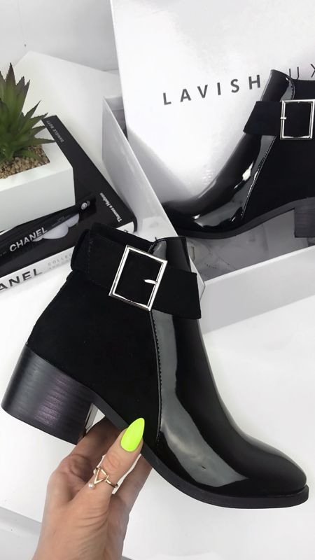 LOTTIE Black Patent Buckle Strap Flat Ankle Boots