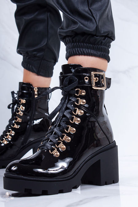 TESSA Black Patent Lace Up Buckle Strap Heeled Boots