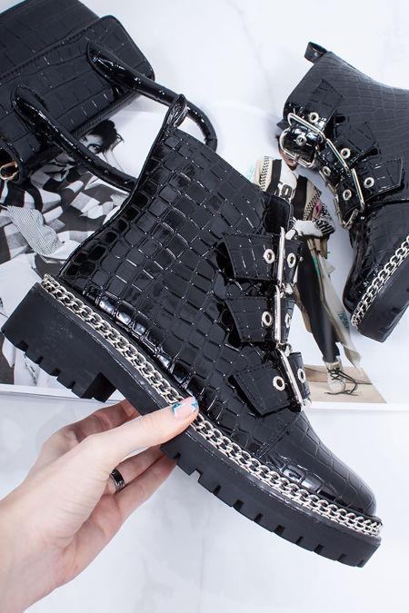 PARIS Black Patent Croc Buckle Strap Chain Biker Boots