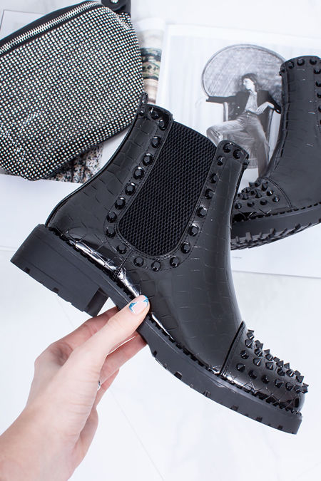 EVERLY Black Patent Croc Black Spike Stud Chelsea Boots