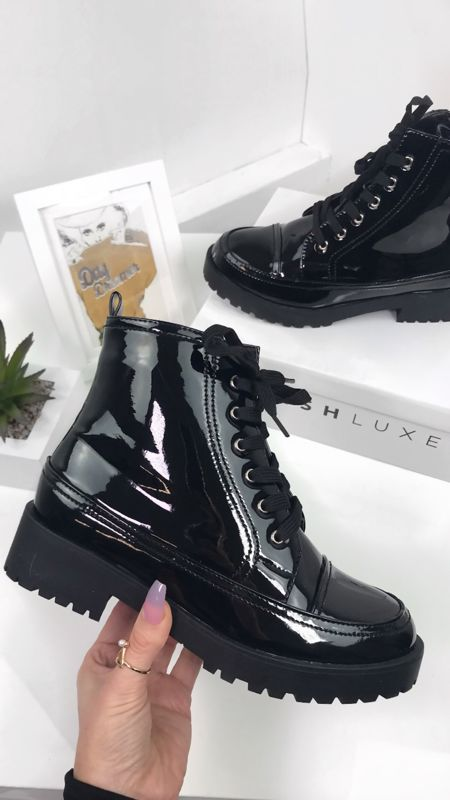 ZARINA Black Faux Patent Leather Biker Boots
