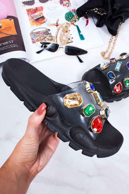 KAYLEE Black Multi Jewel Embellished Strap Sliders
