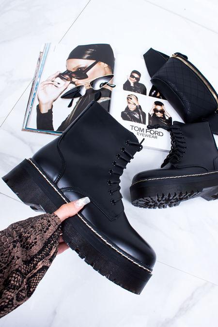 ELSIE Black Matte Chunky Platform Ankle Boots