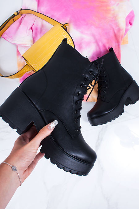 RYLEE Black Lace Up Chunky Sole Ankle Boots
