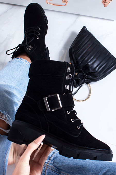 ALICIA Black Buckle Hiker Boots In Faux Suede