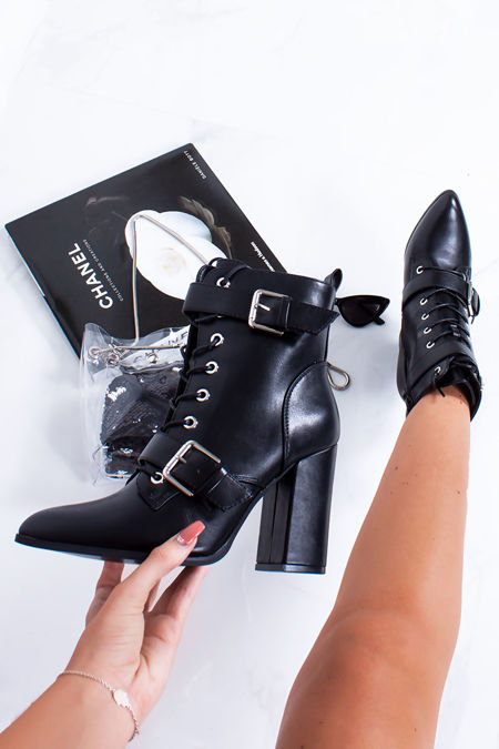 RIAH Black Buckle Strap Block Heeled Boots