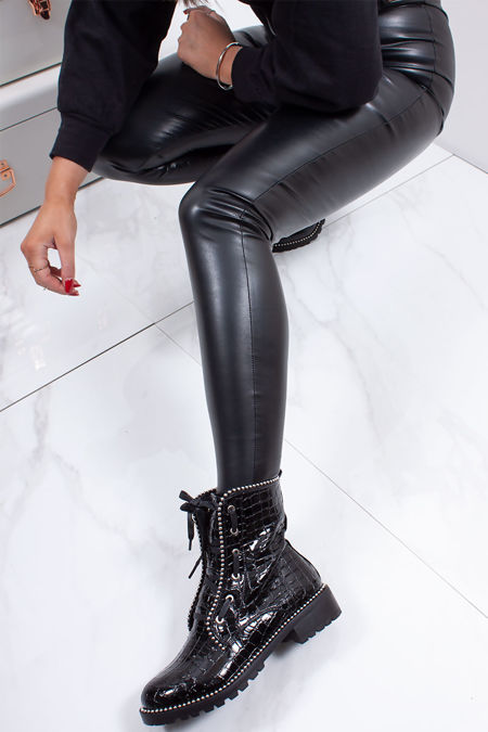 KYLIE Black Faux Leather High Waisted Leggings
