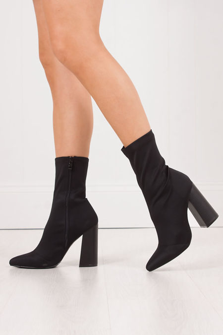 MIMI Black Fitted Block Heel Sock Boots In Lycra