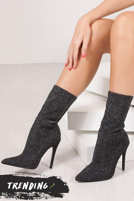 PALOMA Black Glitter Stiletto Sock Boots