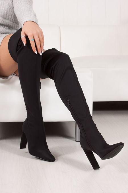 SIERRA Black Over Knee Lycra Sock Boots