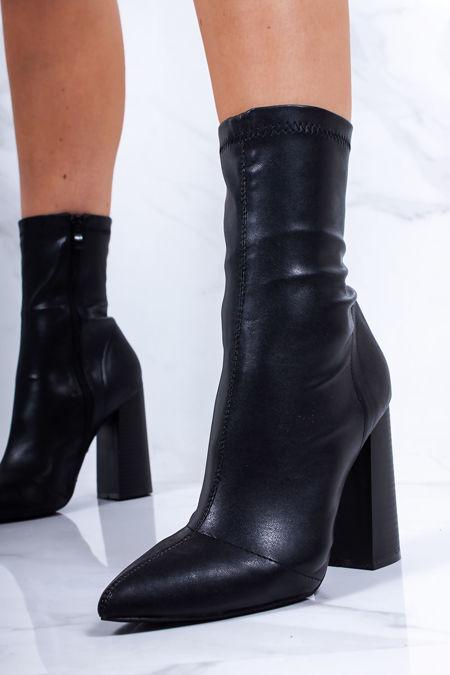 SAMARA Black Block Heel Sock Boots