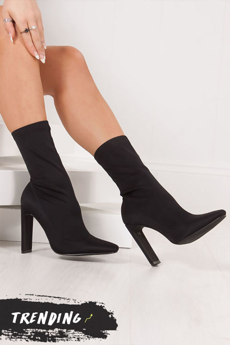 PENNY Black Lycra Slim Black Heel Sock Boots