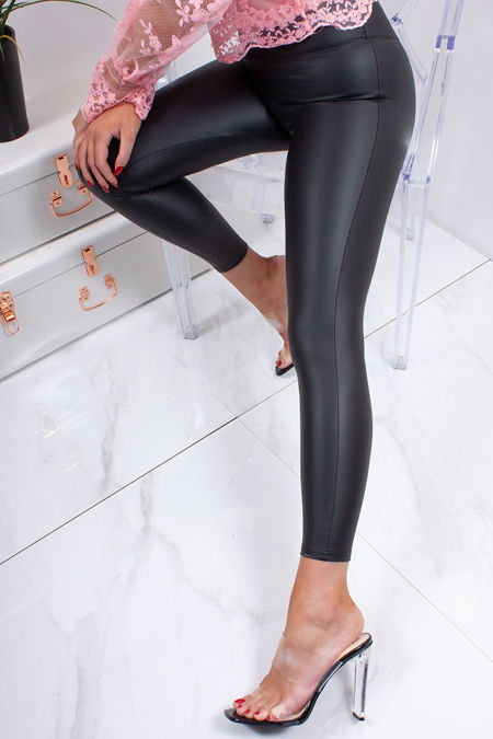 JENNA Black Faux Leather High Waisted Basic Leggings